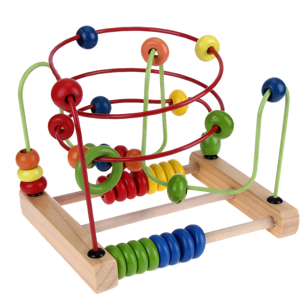 цена Chilrden Wooden Counting Circles Bead Abacus Wire Maze Roller Coaster Kids Wooden Montessori Learning Educational Toys