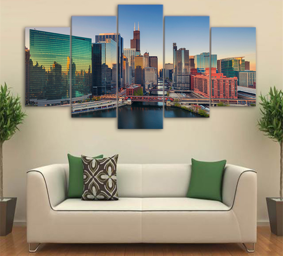5Piece Wall Canvas Art Frame City Building Skyscrapers Poster Hd Print Home Decor Wall Pictures Decorative Poster Art Print