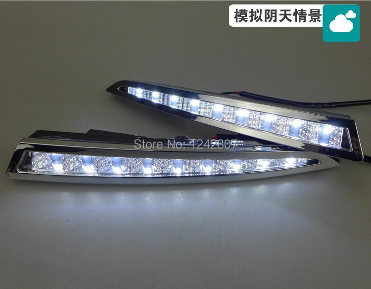 Free shipping ,  LED DRL daytime running light fog lamp for Ford Maverick Escape Kuga 2013 9 chips plating version eouns led drl daytime running light fog lamp assembly for volkswagen vw golf7 mk7 led chips led bar version