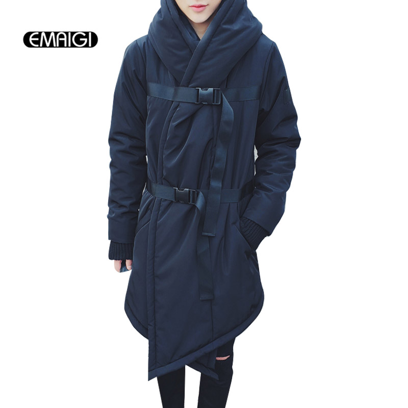 Winter new men coat hooded casual cotton padded jacket fashion warm male clothing long strap thicken