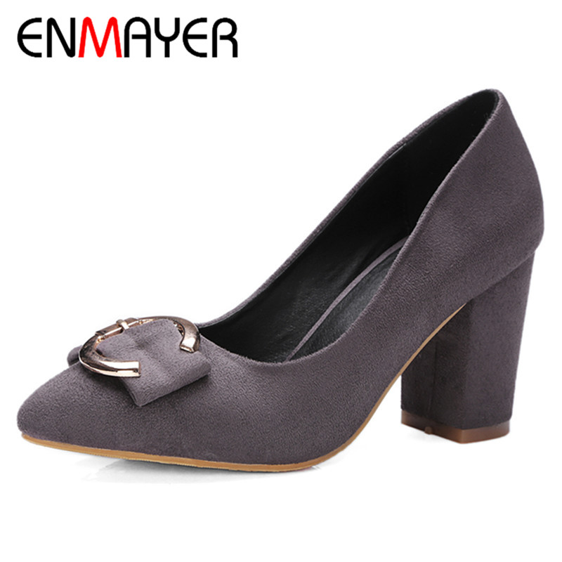 ФОТО ENMAYER Fashion Square Heels Pointed Toe Spring Autumn Shoes High Heel Big Size 32-42 Office&Career Pumps For Women Slip-On