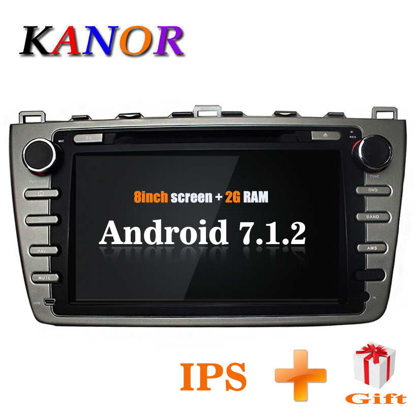 KANOR Android 7.1 Quad core 2 + 16g IPS 2din Autoradio stéréo Pour Mazda 6 Ruiyi 2008 2009 2010 2011 2012 WFFI CFC Carte BT Audio