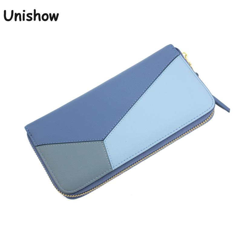 Unishow Patchwork Women Wallet Fashion Elegant Long Zipper Women Purse Wristband Female Purse Soft Pu Leather Phone Wallet Bag