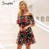 Simplee Sexy Off Shoulder Embroidery Lace Dress Women Ruffle Mesh Floral Summer Dress Backless Streetwear Casual