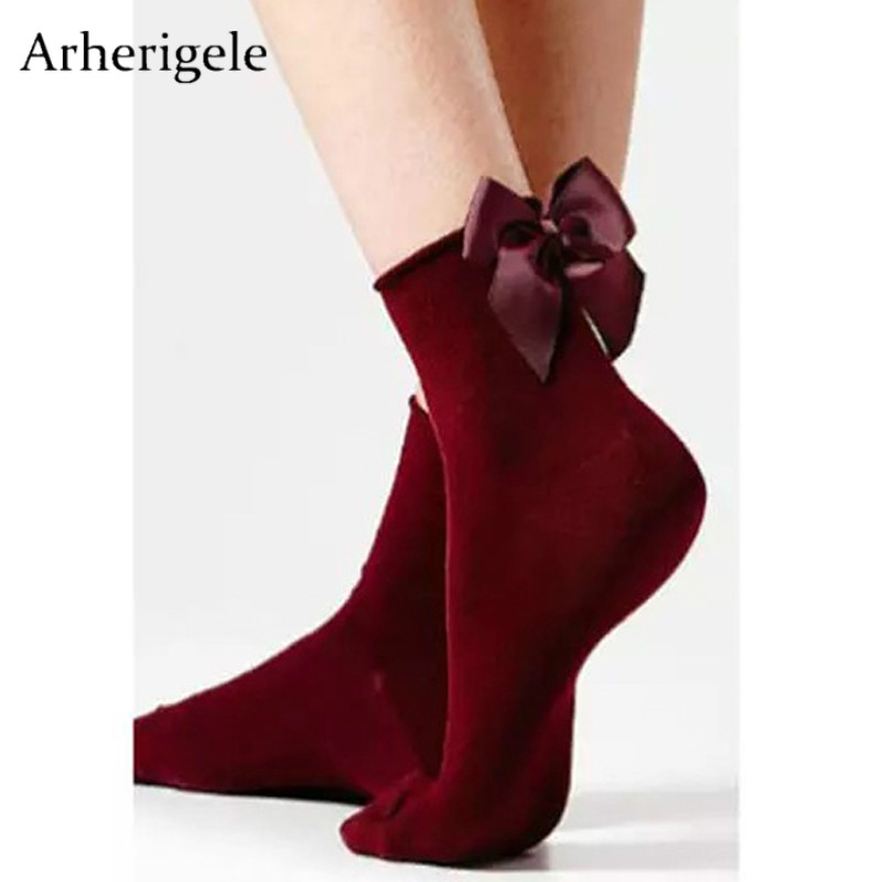 Arherigele Women's Socks Short Cotton Blends with Bowknot Socks Chic Streetwear Funny Female Cute Lolita Socks Calcetines Mujer
