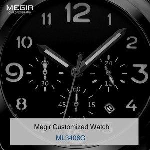 Image 3 - Бесплатная доставка MEGIR 3406 стильные кварцевые часы для мужчин с ремешком из натуральной кожи нубука мужские водостойкие наручные часы с аналоговым дисплеем