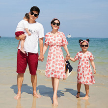 Family Clothing 2019 Summer Mother and Daughter Clothes Baby Beach Dress Kids Dresses for Girls Baby Boys Clothes Kids Beach Set