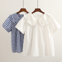 Fresh sweet lolita top kawaii girl peter pan collar white/blue grid victorian shirt loose gothic lolita shirt loli cos lolita