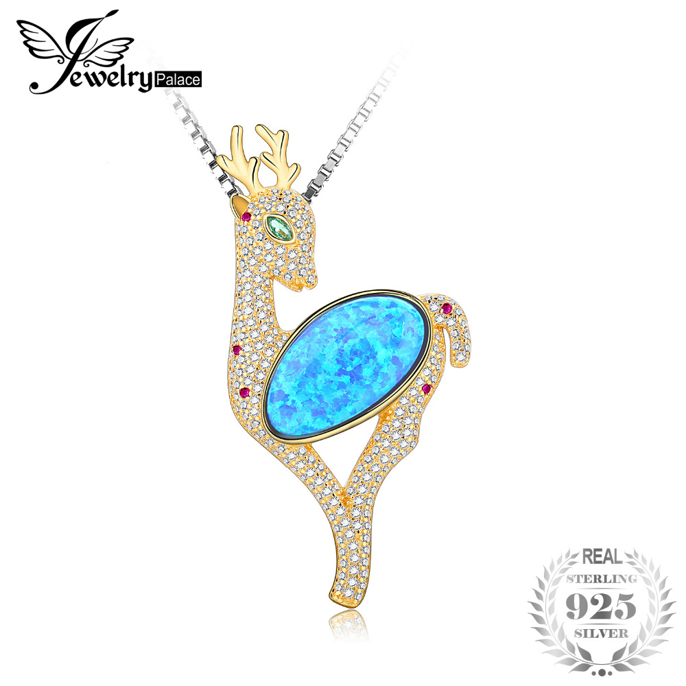 JewelryPalace Fashion Deer 11ct Created Black Opal Nano Russian Simulated Emerald Christmas Pendant Not Include A Chain nkf 11ct r033 3