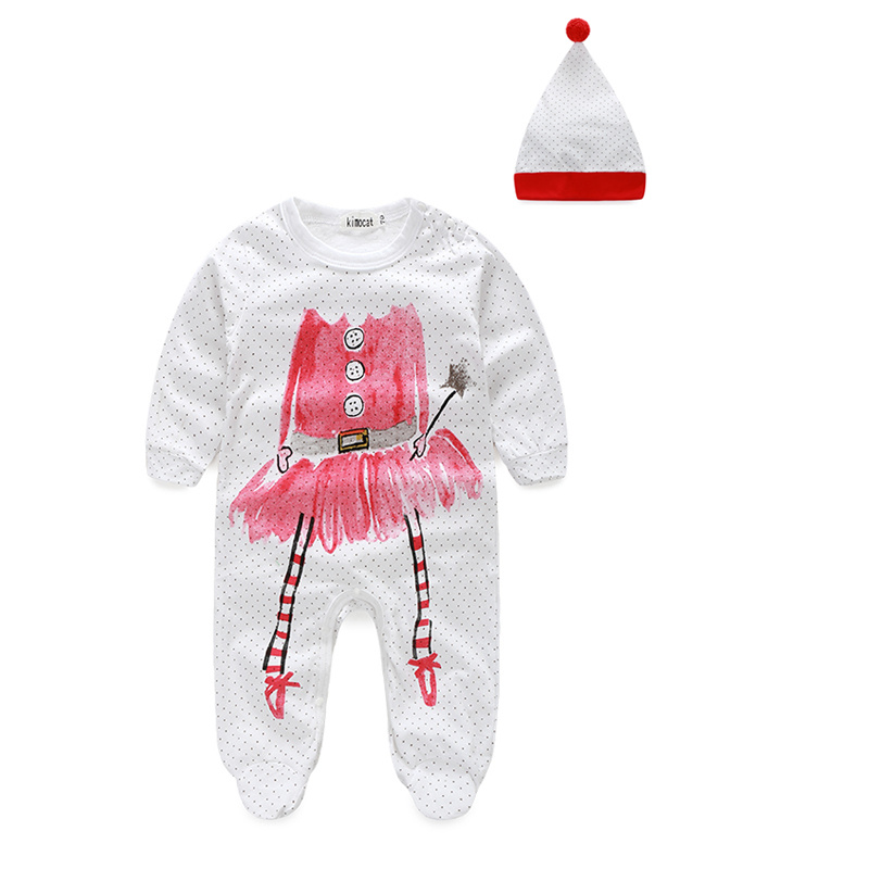 New Cute Baby Girls Boys Clothes Newborn Clothes Dot Long Sleeve Rompers+Hat Baby Product 3-24M