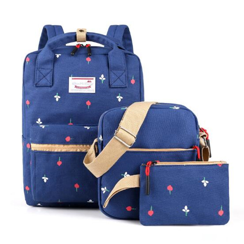 Backpacking Backpack Set 3pcs set Canvas Printing Backpack Women Cute Bookbags Middle High School Bags for