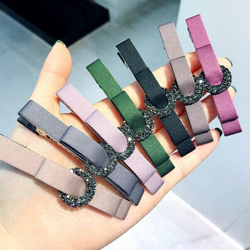 Korean New Spring Simple Small Fabric Bow Tie Rhinestone Duckbill Clip Girl Women Fashion   Headwear   Barrettes Hair Accessories