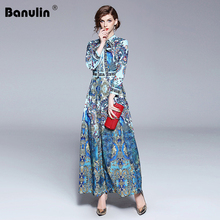 Banulin New 2018 Fashion Runway Designer Summer Autumn Dress Womens Bow Collar Animal Floral Print Pleated Vintage Maxi Dresses