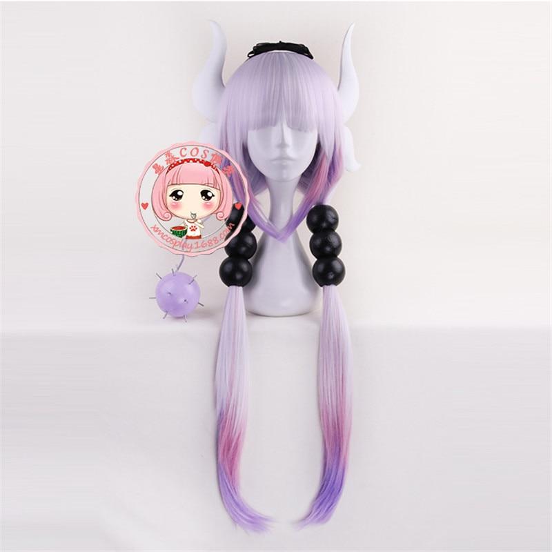 BOOCRE Anime Kobayashi-san Chi no Maid Dragon Cosplay KannaKamui Headwear Wig Gradient Color Length 90 CM