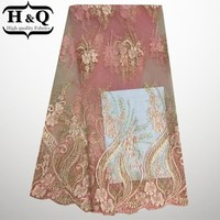 Hot Sale Gold Cord Embroidered African Swiss Voile Lace High Quality Pink French Lace Fabric Nigeria
