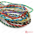 (30225)20 Meters 3MM Gold color Thread and Color Polyester Three Strands Twisted Rope Cords Diy Jewelry Findings Accessories