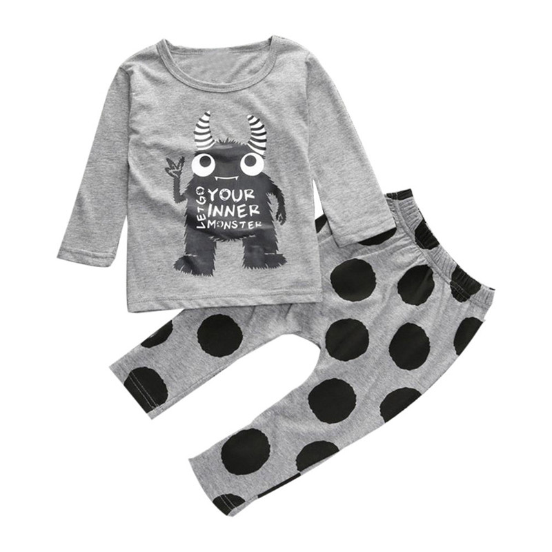 2017 New brand Toddler Infant Monster Print T-shirt Tops+Pants Outfits Children Clothing Set Baby Clothes For Girls Boys 2pcs children clothing set baby boys kids bear print long sleeve t shirt tops dots pants outfit baby boys girls clothes