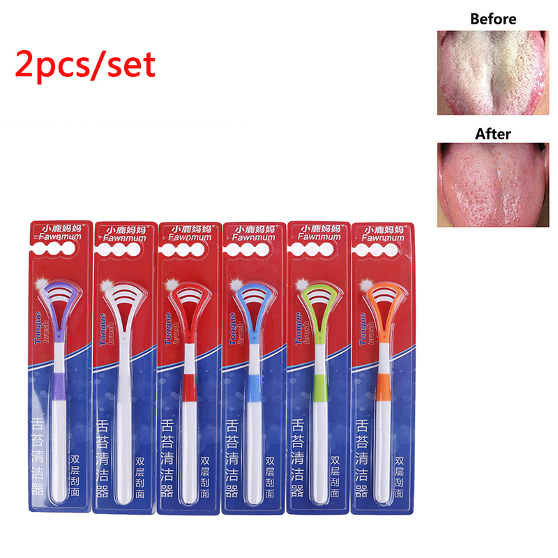 1/2PCS Professional Plastic Tongue Tounge Cleaner Scraper Care Oral Hygiene Mouth Random Color