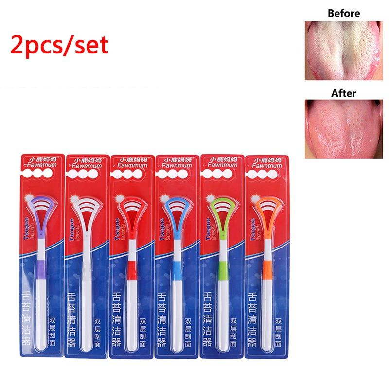 2PCS Professional Plastic Tongue Tounge Cleaner Scraper Care Oral Hygiene Mouth Random Color