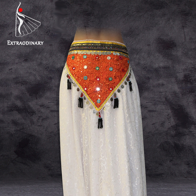 Belly Dance Belt Hip Scarf Bellydance ATS Tribal Belly Danceing Belt Coins Tassel Beaded Women Clothes Accessories Fringe Wrap