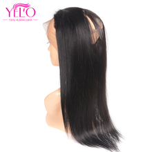 Yelo Pre Plucked 360 Lace Frontal With Baby Hair 100% Non Remy Brazilian Human Hair Straight Natural Black Color 8-18inch