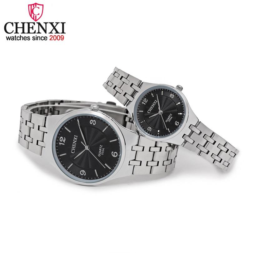CHENXI Brand Original Luxury Famous Full Steel Couple Watches Lovers Quartz Clocks  Rose Gold Men Watch Women Wristwatch Relogio