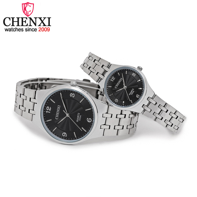 CHENXI Brand Original Luxury Famous Full Steel Couple Watches Lovers Quartz Cloc