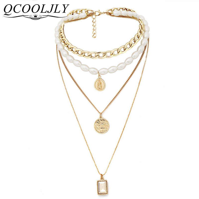 Bijoux Femme Punk Multi Layered Pearl Choker Necklace Collar Statement Virgin Mary Coin Crystal Pendant Necklace Women Jewelry