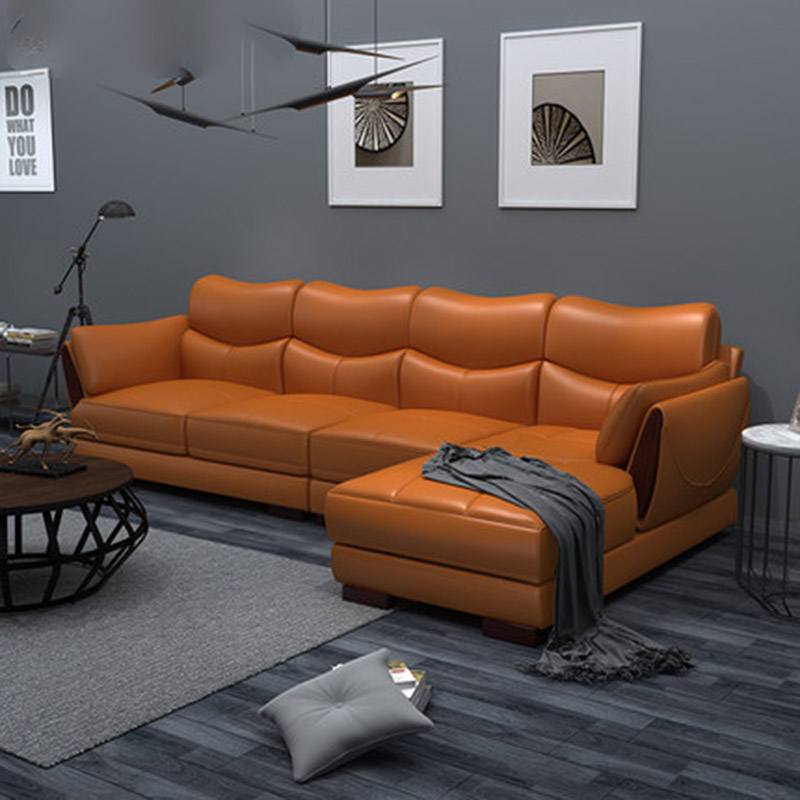 Nordic Leather Sofa First Layer Leather Small Size Corner