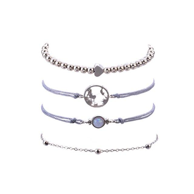 Фото женский набор браслетов diezi ручной работы из серой веревки цена