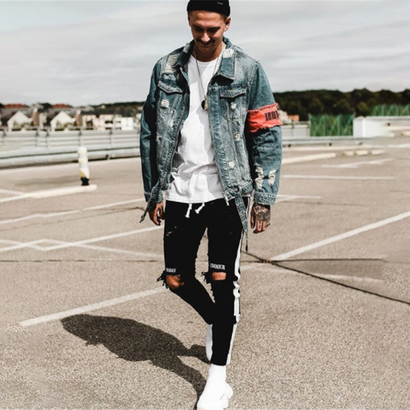 Elastic Feet Hand-ground Embroidered Fashion Jeans Men's Trousers Skinny Jeans Men  Fashion Casual Jeans C1300