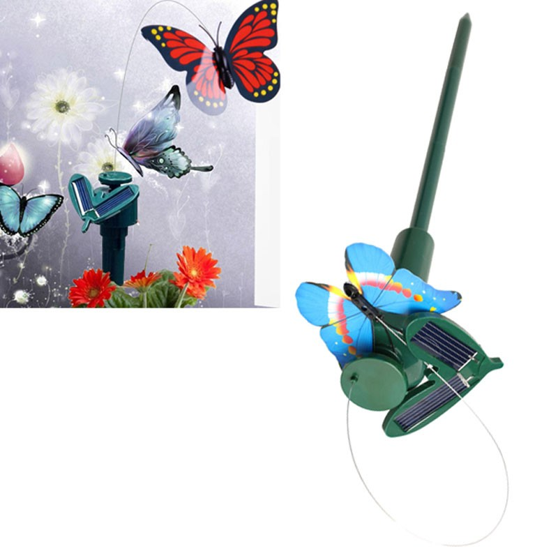 Solar light outdoor butterfly lawn lamps solar led path for Butterfly lawn decorations