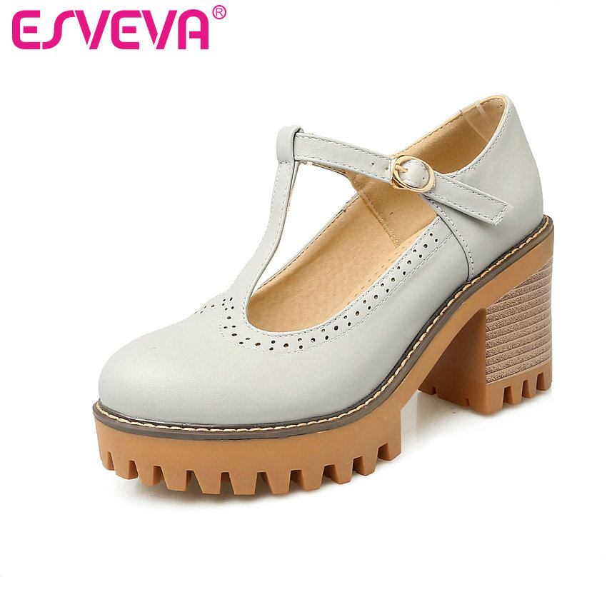 ESVEVA 2017 Sexy Women Pumps Square High Heel PU Leather T-strap Round Toe Platform Summer Spring Ladies Shoes Size 34-43 kemekiss size 33 42 women s high heel wedge shoes women cross strap platform pumps round toe casual mixed color ladies footwear