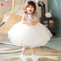 Pure White Flower Girls Desses For Wedding Party Wear Kids First Communion Dresses Perform Gowns Cheap