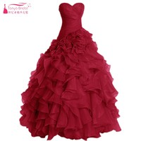 Tiered Ruffles Ball Gown Prom Dresses Chiffon Long Pearl Dusty Pink Vintage Evening Formall Dress Real