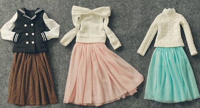 Lace Long Skirt Multicolors for BJD Doll Girl 1/4 MSD,1/3 SD10/13, SD16 LUTS.AS.DZ. Doll Clothes CWB78 1