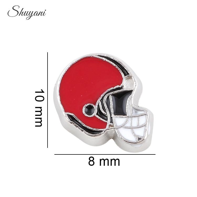 New Fashion 20pcs/lot Enamel Sports Helmet Charms Fit Glass Living Locket Pendant Women Jewelry