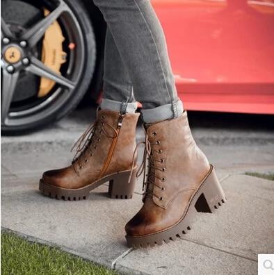 Plataforma El Mujeres 01 Impermeables Gran Británico Zapatos 43 Tamaño Las 04 4142 Tacón Otoño 40 Martin Alto Con De Y La 02 03 Retro 2016 Botas Invierno wq1xFBE8P