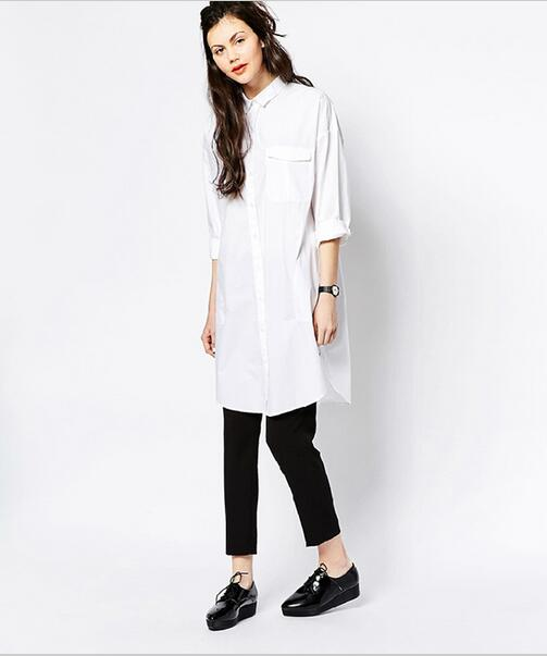 26b3a386aed874 White Shirt Dress Women Boyfriend Style Long Sleeve Dresses Loose Casual  Dresses For Women Sexy Loose White Shirting Dress Robe