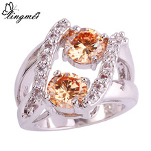 Wholesale Wedding 16R5 Morganite & White Topaz  925 Silver Ring Size 7 8 9 10 Free shipping