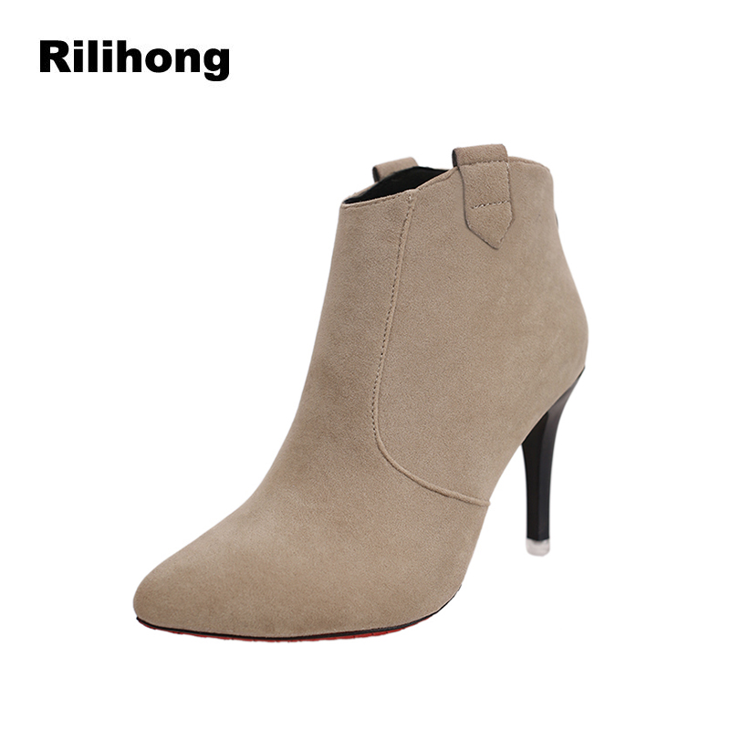 Rilihong Pointed Toe High Heels Ankle Boots Women 2018 Autumn New Flock Sexy Wild Shoes Slip On Platform Ladies Shoes Size 34 39 newest flock blade heels shoes 2018 pointed toe slip on women platform pumps sexy metal heels wedding party dress shoes