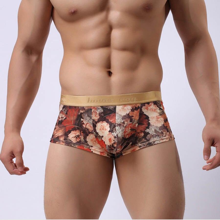 Brand Ice Silk Herre Undertøj Boxere Sexet trykt Floral Penis Pouch Bulge Mandlige trusser til mand Åndbar mænd Boxershorts hot