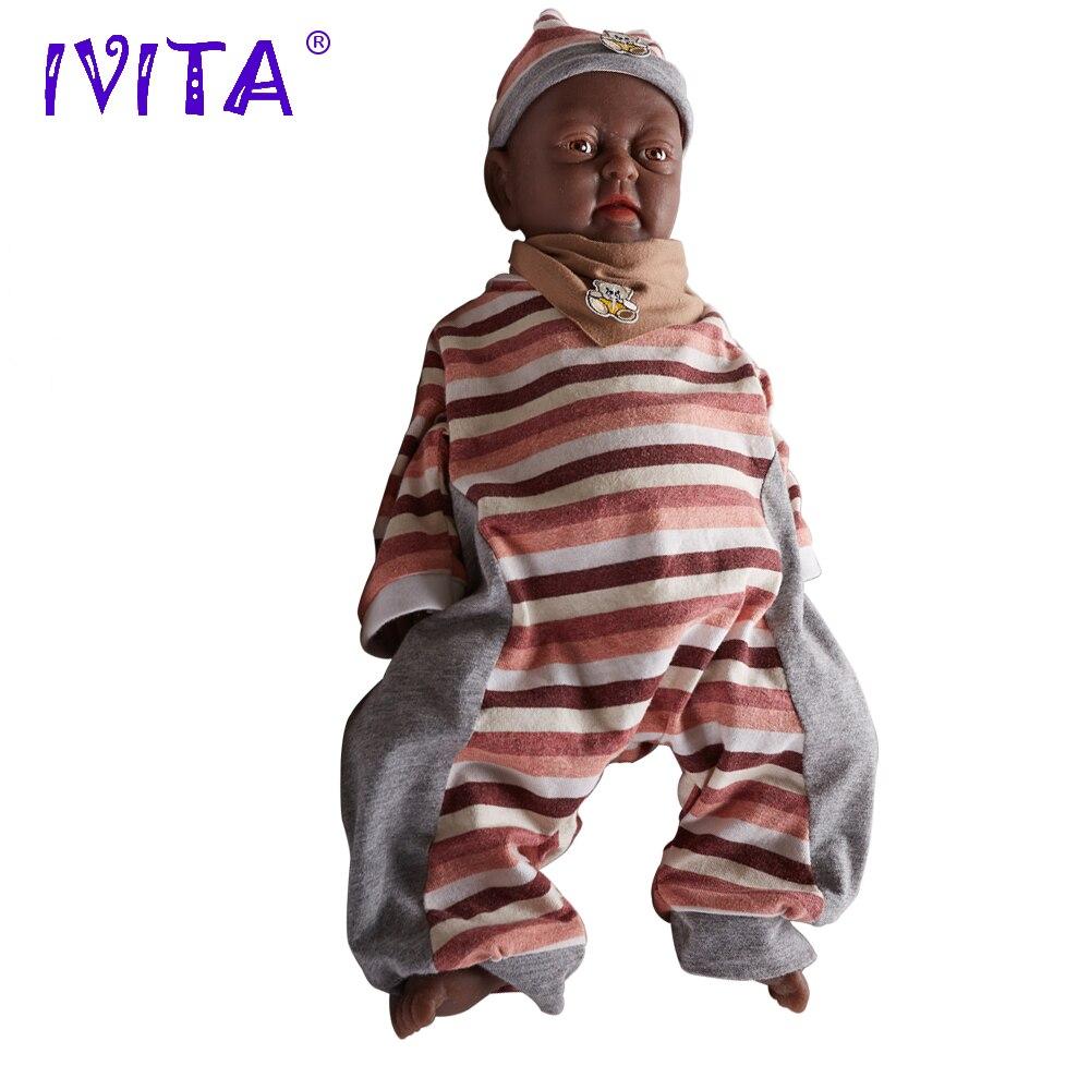 Ivita 18inch 3 2kg Girl Black Skin Reborn Doll Full