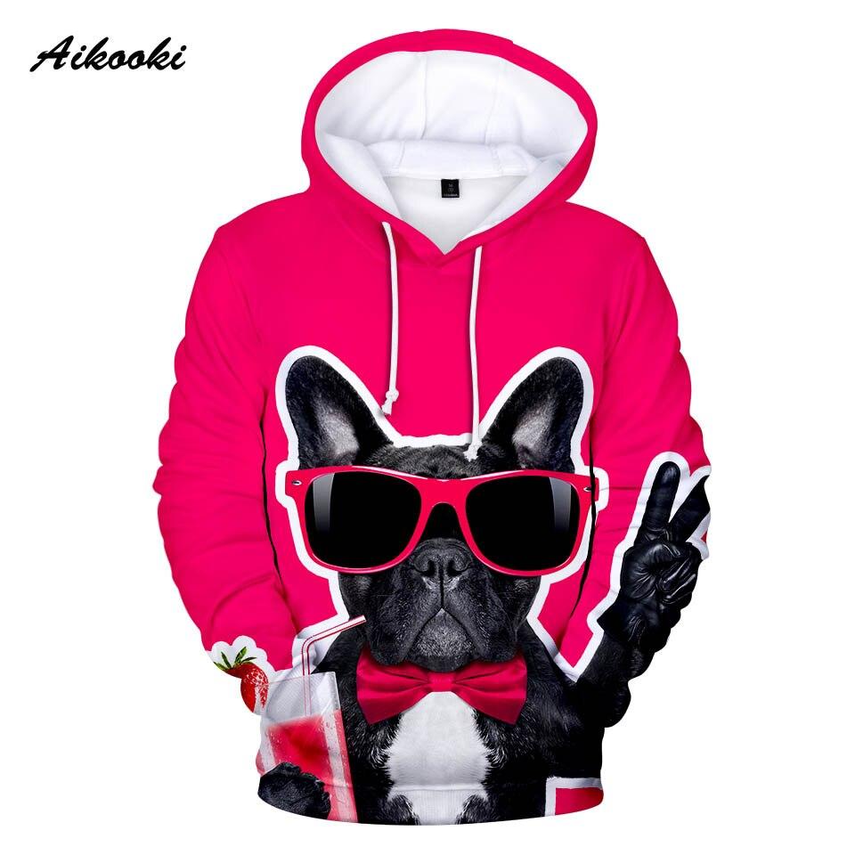 Aikooki Französisch Bulldog Hoodie Männer/frauen Mode Winter Hoodies Französisch Bulldog 3d Hund Rot Design Jungen/mädchen Sweatshirts Mit Kapuze