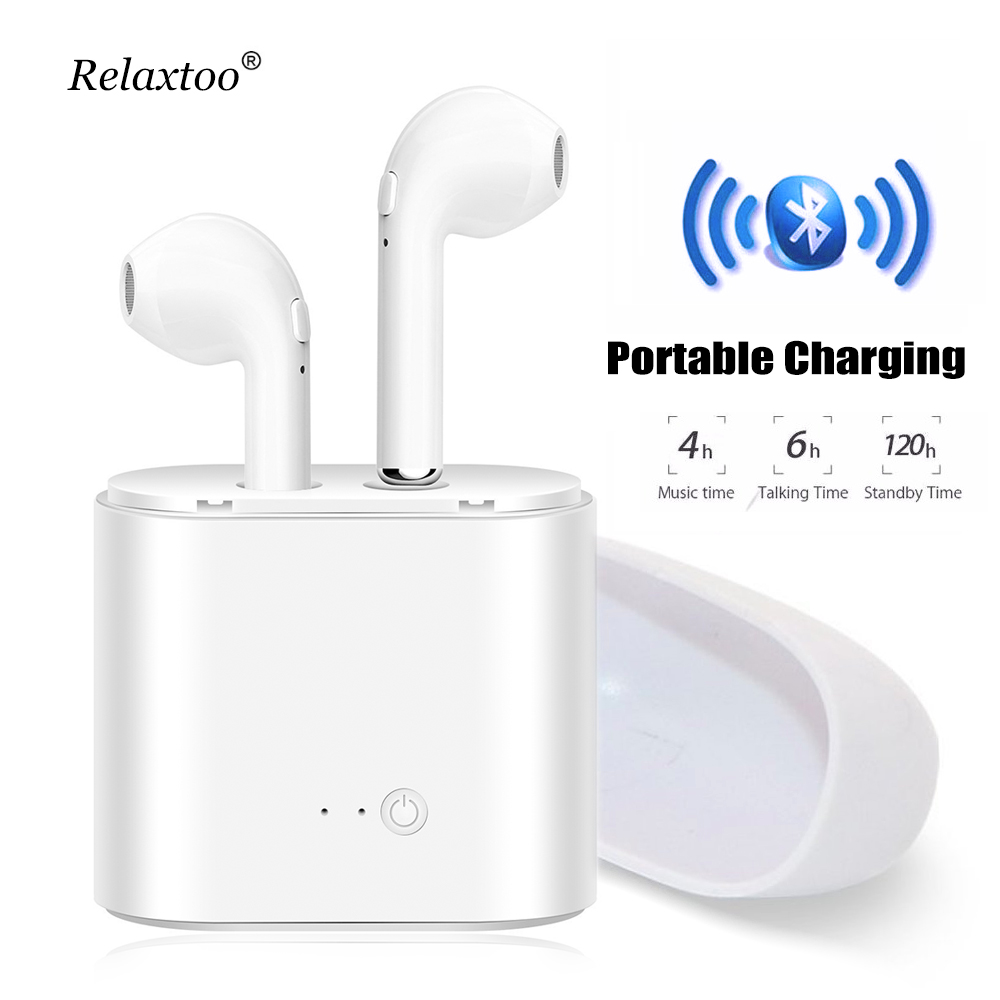 TWS i7 Earphone with Charger Case in ear V4.1 Bluetooth Earphone Wireless Headset super bass earbuds for iphone Samsung Xiaomi