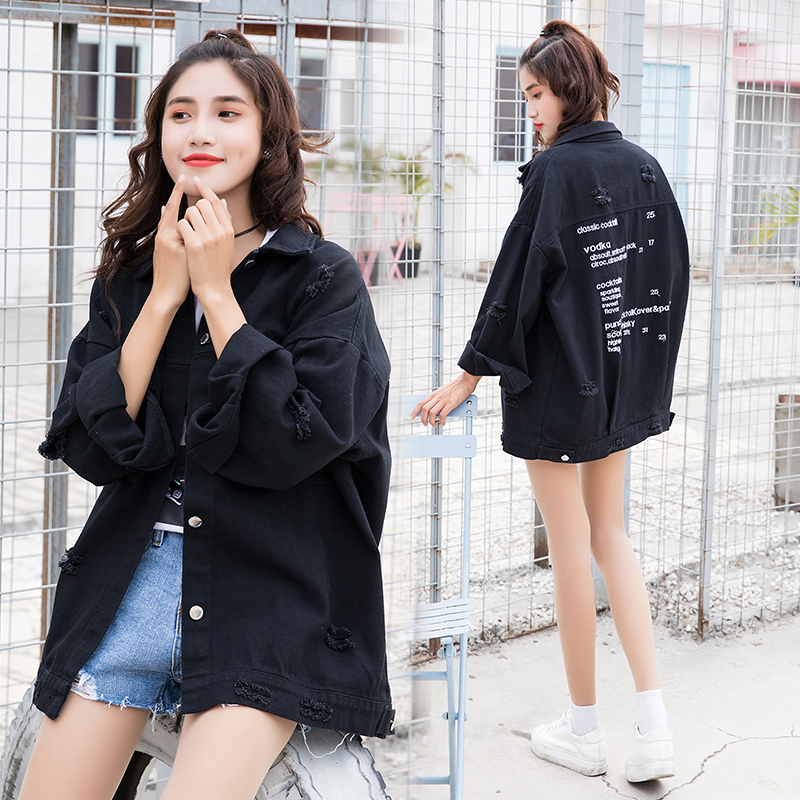 New Stylish 2019 Bomber Cowboy Jacket with Pockets Cotton Windbreaker Women Basic Coats Slim Fashion BF Student Outerwear NO838