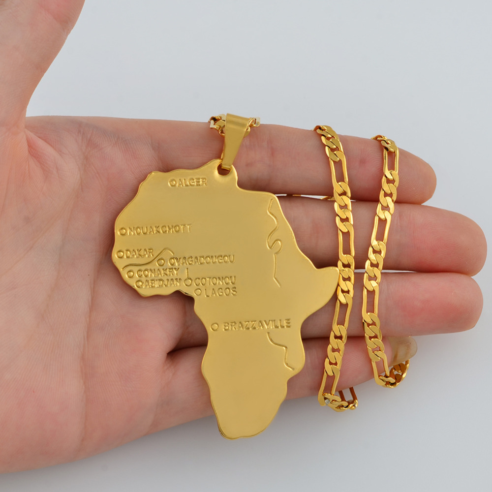 Anniyo Big Map of Africa Pendant Necklace for Men Jewelry Hip-Hop Chain Ethiopian Bigger Charms (Pendant Size 6.5cm) #048306
