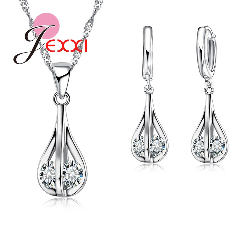 Jemmin Simple Wedding Bridal Jewelry Set For Women 925 Sterling Silver Crystal Statement Necklaces Earring Jewelery Set