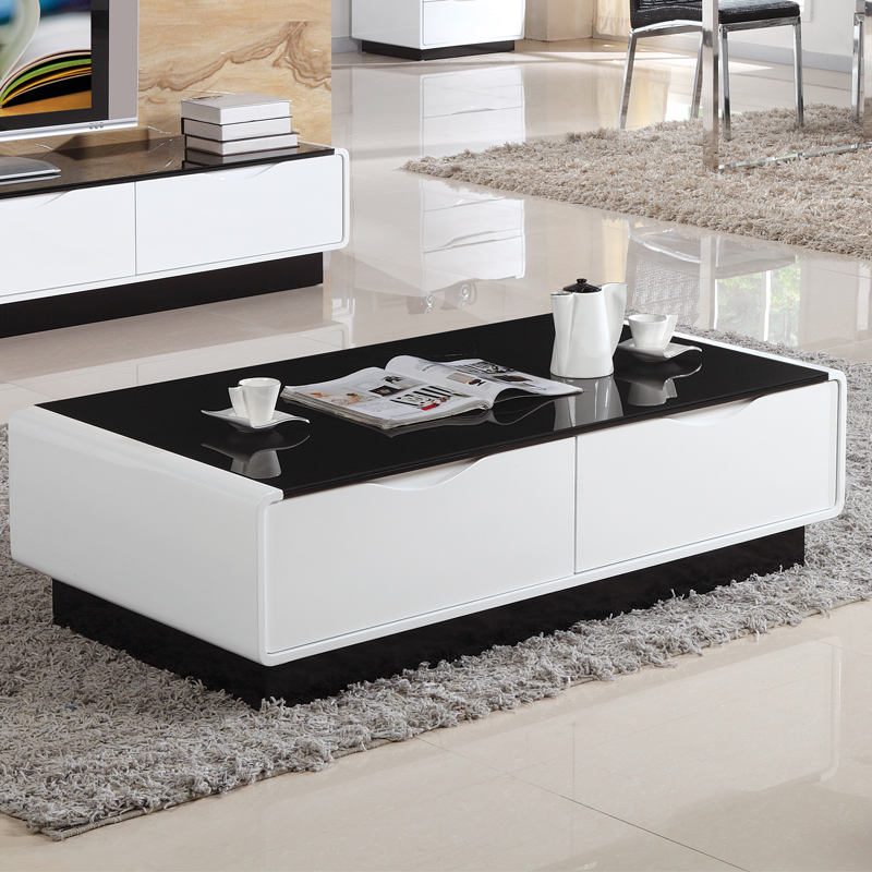 cheap assembled coffee table glass minimalist living room drawer two teasideend in coffee tables. Black Bedroom Furniture Sets. Home Design Ideas