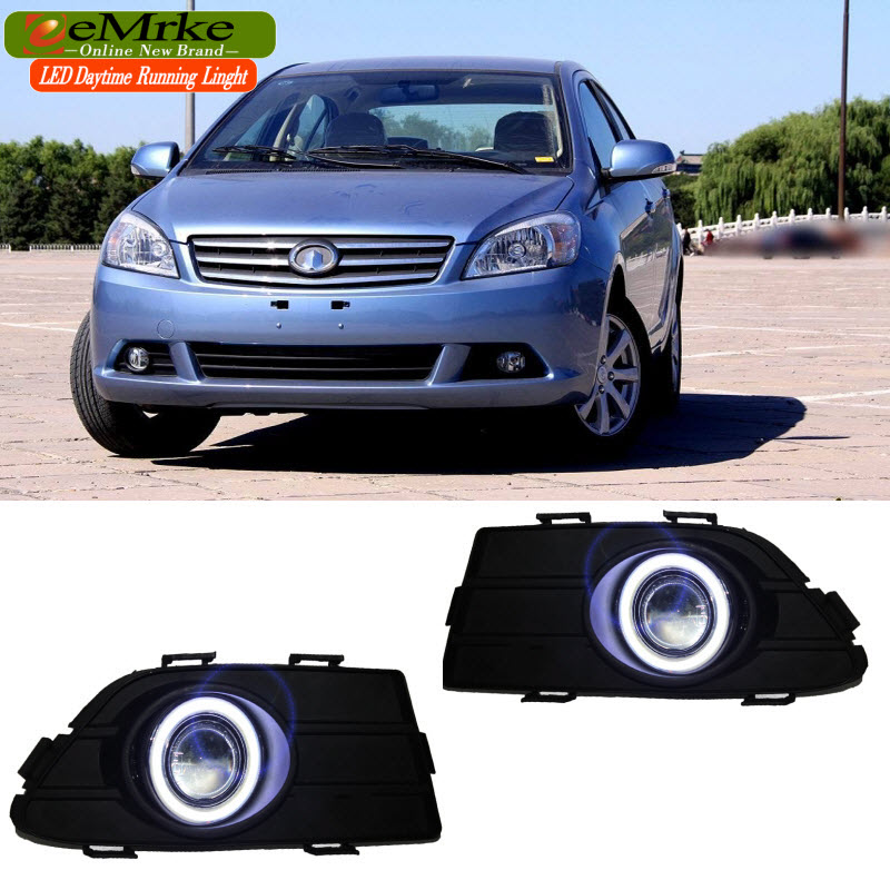 EEMRKE For Great Wall Voleex C30 2010-2016 2in1 COB LED Angel Eye DRL H11 55W Halogen Fog Lights Lamp Daytime Running Light for opel astra h gtc 2005 15 h11 wiring harness sockets wire connector switch 2 fog lights drl front bumper 5d lens led lamp